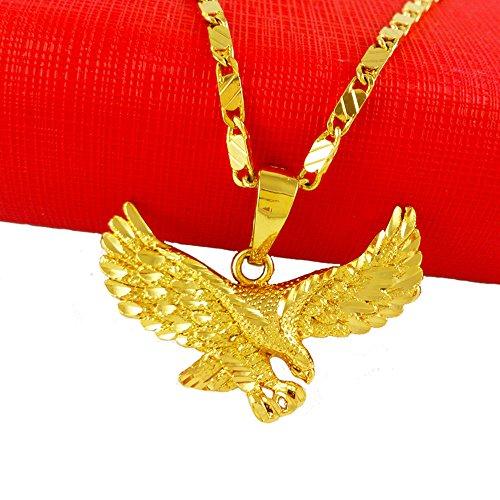 Mens Womens Eagle Hawl Pendant 24k Real Gold Plated Necklace Chain (40 x 28mm pendant// 600 x 2mm Necklace Chain)