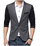YUNY Men's Cargo Pocket One Button Long-Sleeve Leisure Flat Collar Suit Jacket Dark Grey 4XL