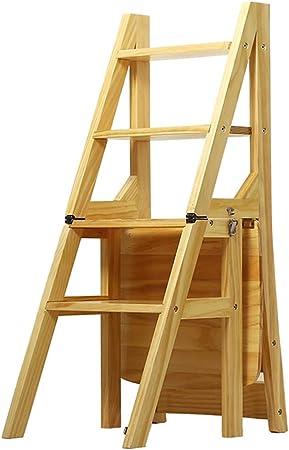 4 Escalera de la Banda de Rodadura Transformación Plegable Escalera de Tijera Respaldo Silla Taburete de Madera Tijera Escalera Alta Herramienta de jardín para el hogar Trabajo Pesado Máx. 150 kg: Amazon.es: