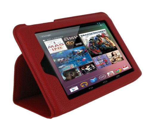 rooCASE Ultra-Slim (Red) Vegan Leather Folio Case for Google Nexus 7 Tablet (Built-in sleep / wake feature) Photo #9
