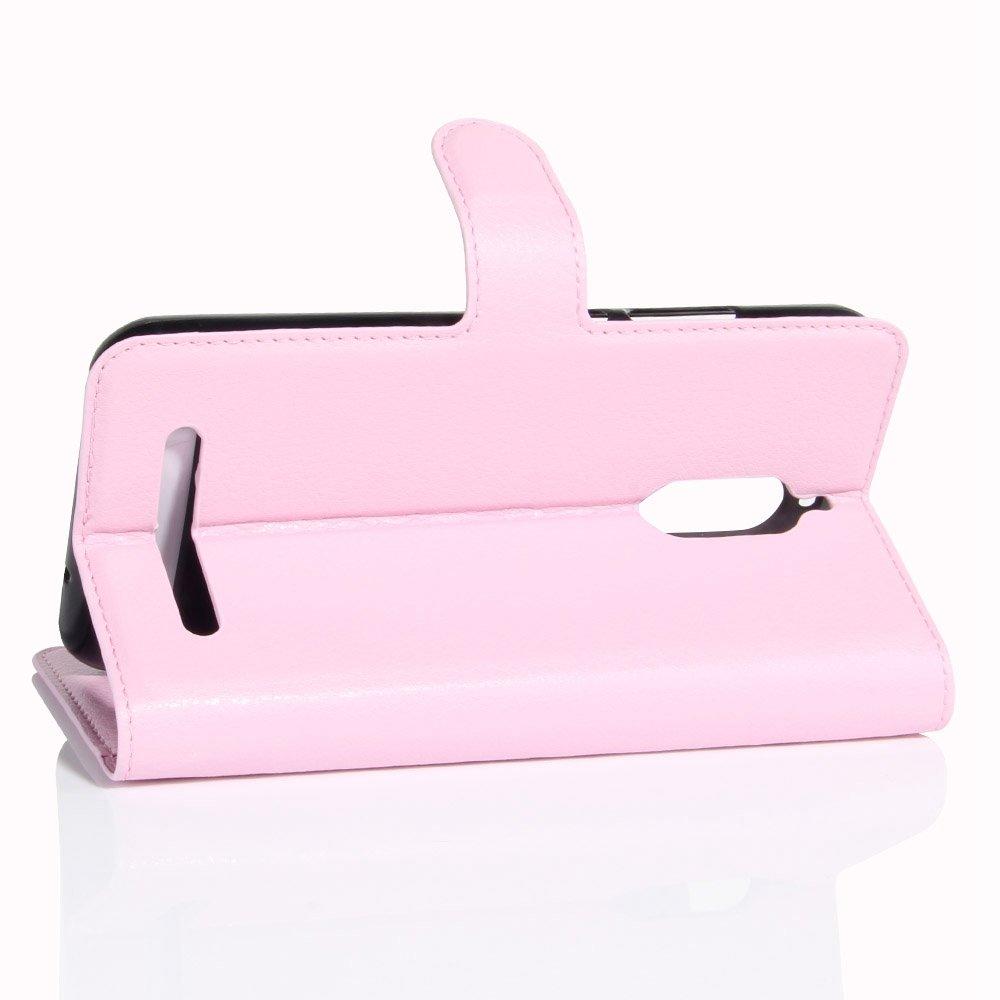 Guran® Funda de Cuero PU Para ZTE Nubia N1 Lite Smartphone Función de Soporte con Ranura para Tarjetas Flip Case Cover Caso-rosa