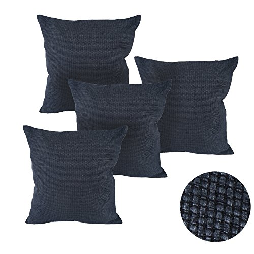 Deconovo Woven Fine Faux Linen Decorative Pillows Hand Made Pillow Case Cushion Cover For Sectional 18x18 Inch Dark Blue - Blue Pillow Cover