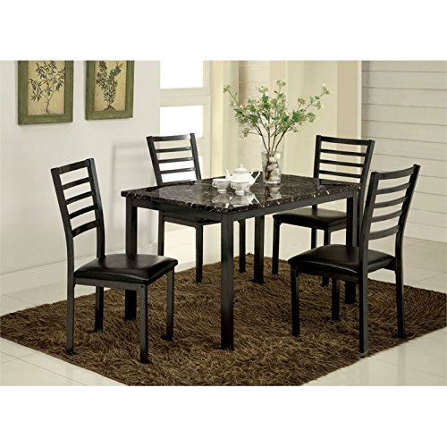 Furniture of America Casella 5-Piece Faux Marble Top Dining Table Set, - Marble Faux Piece 5
