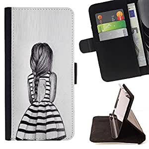 Momo Phone Case / Flip Funda de Cuero Case Cover - Fille cheval Fashion Design - Samsung Galaxy J3 GSM-J300