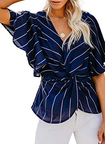TURNMEON Ladies Floral Batwing Striped Short Sleeve V-Neck Ruched Twist Chiffon T-Shirts Tops (Navy Stripe, XL)