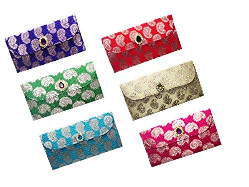 Wedding Pitara Fancy Shagun Brocade Envelopes (Pack of 6) (Brocade Bridal Shower)
