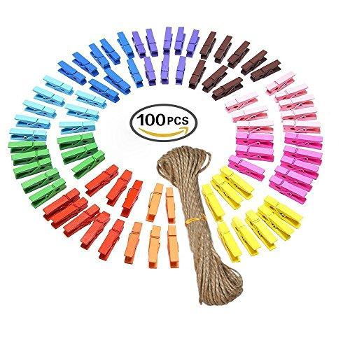 G2PLUS 100 Stk Holzwäscheklammer Farbig Wäscheklammer Klammern für Fotopapier Kleiderroller mit 20 M Jute Twine