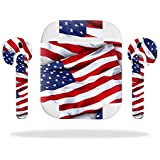 MightySkins Protective Vinyl Skin Decal for Apple AirPods wrap cover sticker skins Patriot