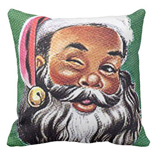 VaryHome Throw Pillow Cover Brown Hispanic African Black Santa Claus Christmas Mexican Decorative Pillow Case Home Decor Square 18 x 18 Inch Pillowcase (Santa Black Decorations)