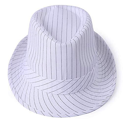 (Salt&Seas Men's Pinstripe Houndstooth Stingy Short Brim Fedora Gangster Cuban Style Hat Cap White)