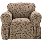 Sure Fit Scroll Box Cushion 1-Piece Chair Slipcover, Brown
