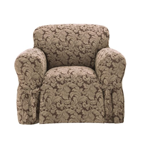 Arm Chair Box Cushion - SureFit Scroll 1-Piece - Chair Slipcover - Brown