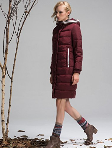 Mordenmiss Women's Long Sleeve Thicken Warm Winter Hooded Down Jacket Coat Style 4-M-Burgundy B-3-A6-1 by Mordenmiss (Image #5)