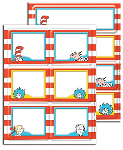 Eureka Back to School Dr. Seuss Cat in The Hat Label Stickers for Teachers, 56pc -