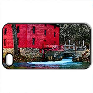 Red Mill - Case Cover for iPhone 4 and 4s (Houses Series, Watercolor style, Black)