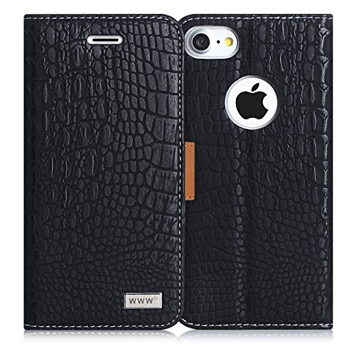 iPhone 8 Case, iPhone 7 Case, WWW [Crocodile Pattern] Premium PU Leather Wallet Case Flip Phone Case Cover with Card Slots for iPhone 7/8  Black