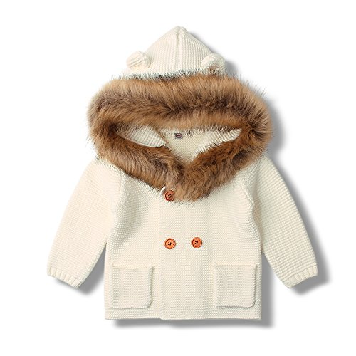 MiMiXiong Baby Cardigan Sweater Cartoon Hoodies Long Sleeve Coats with Fake Fur (18-24Months,White-Fur)