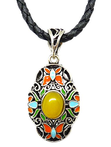 Bijoux De Ja Pewter Yellow Stone Enamel Filigree Pendant Leather Necklace 18 - Tiffany Outlet Official
