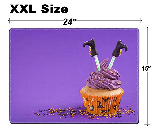 Luxlady Extra Large Mouse Pad XXL Extended Non-Slip Rubber Gaming Mousepad 24x15 Inch, 3mm thick Stitched Edge Desk Mat IMAGE ID: 22167569 Halloween cupcake with witch legs]()