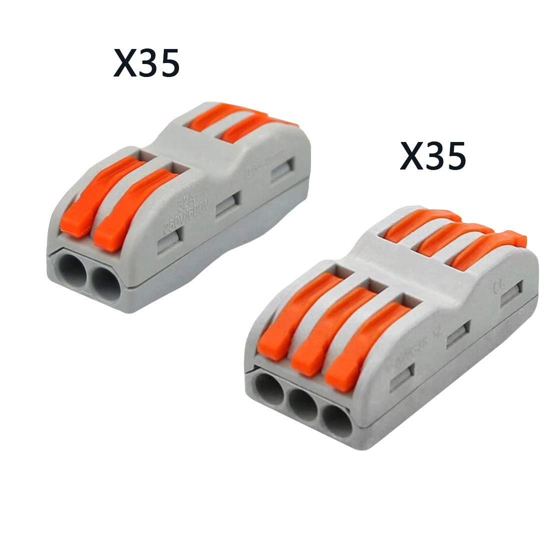 Lever-Nut,Wire Connector,Assortment Pack Conductor Compact Wire Connectors.(SPL-2,35PCS SPL-3, 35PCS)70PCS by UOHGDPY (Image #1)