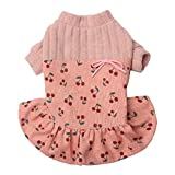 Neodot Pet Dog Clothes Cherry Design Dress with Breathable Cotton For Small Medium Large Dogs