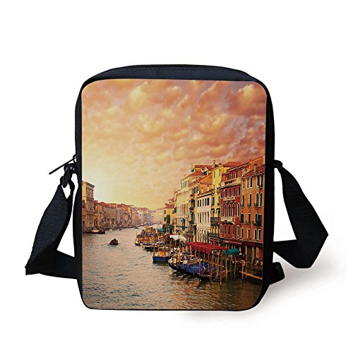 Price comparison product image IPrint Scenery Decor, Venezia Italian Decor Landscape with Old Houses Gondollas and Spikes Image, Multicolor Print Kids Crossbody Messenger Bag Purse