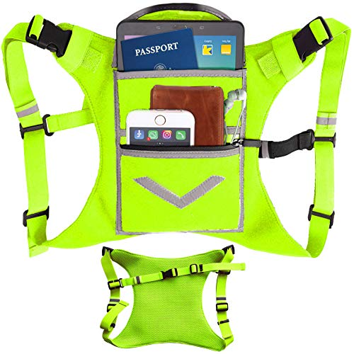 Lime Green Running Mini Backpack Vest for Men & Women – Reflective w/360°Hi-Viz, Holds Accessories and any iPhone…