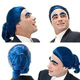 Adult Adjustable Blue / Black Colonial Man Wig & Eyebrows - TV Show Host - Caesar