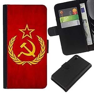 KLONGSHOP // Tirón de la caja Cartera de cuero con ranuras para tarjetas - Nación Bandera Nacional País Unión Soviética - Sony Xperia Z3 D6603 //