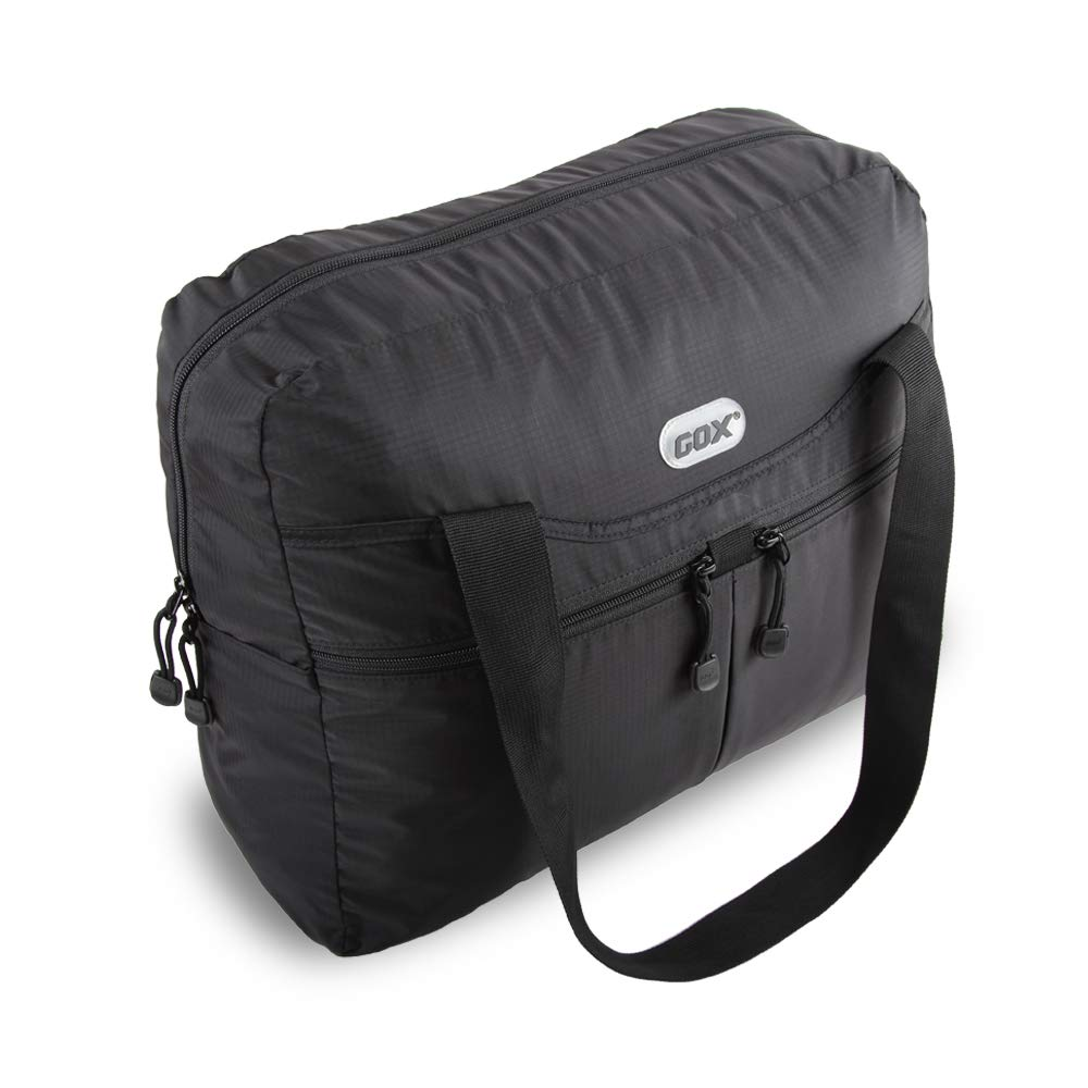 GOX Premium Foldable tote Bag, Duffel Bag For Travel, Multipurpose Daypack (Black)