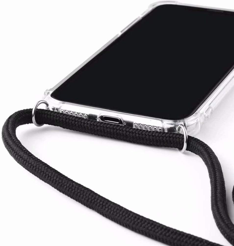 Bigcousin Funda con Cuerda Compatible con Samsung Galaxy A8 2018//A530F,Transparente de TPU con Ajustable Collar Cadena Cord/ón,Rose Gold