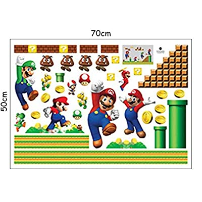 Newest Anime Game Wall Stickers Super Funny Mario Bros 3D Vinyl Decals Kids Room Nursery Decoration Cartoon Wallpaper 7050cm: Baby