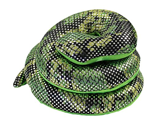 16 Inch Long Sand Filled Green Glitter Plush Snake Toy/ Paperweight (1 Pack)