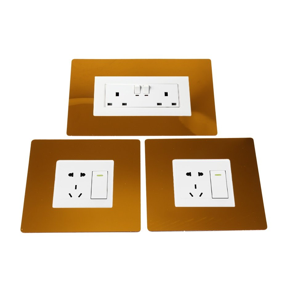 DHOUTDOORS 3 x Double Single Light Switch Finger Plate Plug Socket Surround Mirror Gold