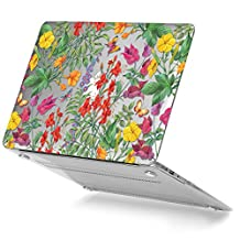 GMYLE Tropical Flowers & Butterfly Pattern Soft-Touch Crystal Plastic Clear See-through Hard Case Cover for Macbook Air 13 inch (Model: A1369 & A1466)