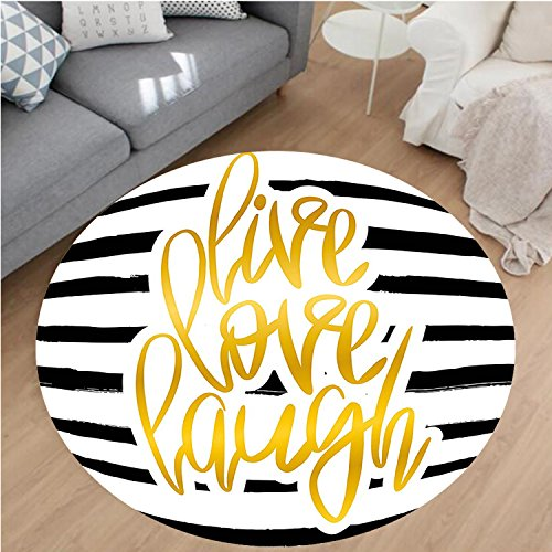 (Nalahome Modern Flannel Microfiber Non-Slip Machine Washable Round Area Rug-ove Decor Romantic Poster Design with Hand Drawn Stripes and Calligraphy Black White Gold Area Rugs Home Decor-Round 24