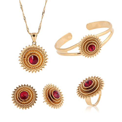 Cooper Plataed Ethiopian Jewelry 22k Gold Plated Pendant Chain Earring Ring Bangle African Wedding Stone Set (Red)