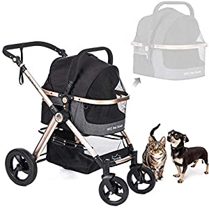 HPZ Pet Rover Prime 3-in-1 Luxury Dog/Cat/Pet Stroller (Travel Carrier + Car Seat +Stroller) with Detach Carrier/Pump-Free Rubber Tires/Aluminum Frame/Reversible Handle for Medium & Small Pets