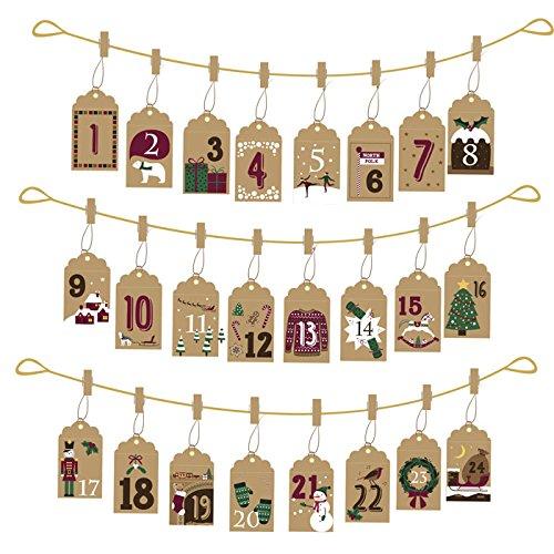 Hanging Envelope Advent Calendar - Vintage Style Brown Card CGB DES222