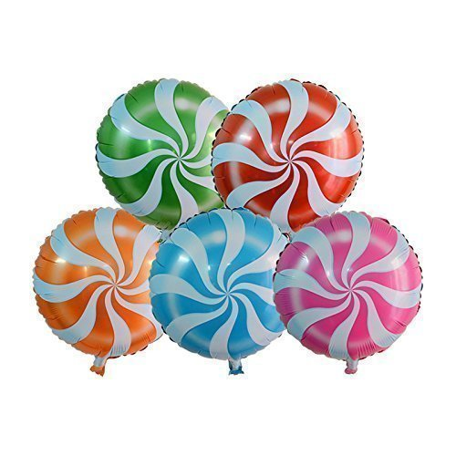 AnnoDeel 10 PCS 18 Inch Round Candy Lollipop Aluminum Film Balloon Camouflage Cartoon Toy Birthday Party Decoration -