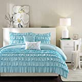 Intelligent Design Waterfall Comforter Set Twin/Twin XL Size - Teal, Ruffles – 4 Piece Bed Sets – Ultra Soft Microfiber Teen Bedding for Girls Bedroom