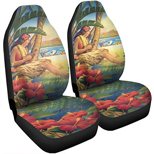 (VTH Global Hawaii Ukulele Hula Girl Hawaiian Print Turtle Hibiscus Flower Car Seat Covers Set of 2 Size Universal Fit )