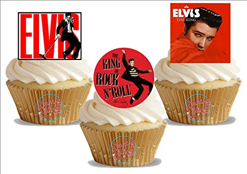Elvis Bling - Elvis Trio Trio Mix - 12 Standup Edible Premium Wafer Paper Cake Toppers Decoration 12 X 55Mm