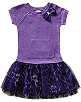 Youngland Little Toddler Girls Knit Drop Waist Leopard Tulle Skirt Dress
