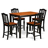 Cheap East West Furniture YACH5-BLK-W 5 Piece Counter Height Table and 4 Kitchen Chairs Set