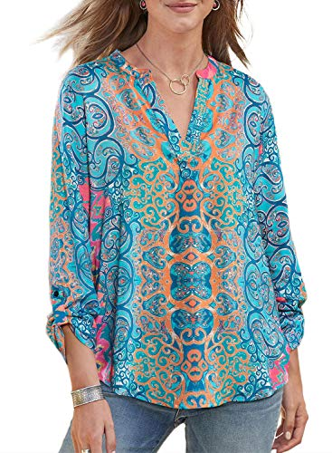 - Lovezesent Womens Plus Size Sexy V Neck Printed Roll-Up Sleeve Tunic Blouses Loose Casual Shirt Tops to Wear with Leggings Sky Blue XXL