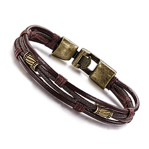 Ztuo Men Genuine Leather Handmade Bracelet Bangle Retro Multi-layer Slim Braided Metal Wrap Brown Gold