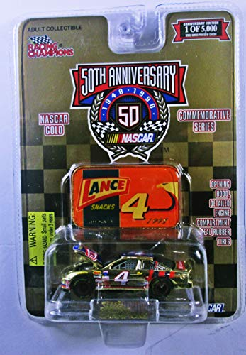 - Racing Champions 50th Anniversary #4 Jeff Purvis 1/64 Scale with die cast Emblem Lance Snacks Nascar Gold