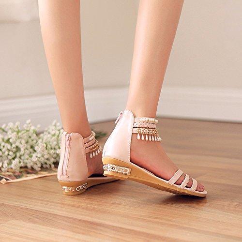 Sweet Rhinestones Una Palabra Con Sandalias De Dedo Rocío Femenino Verano Cientos De Fondo Plano Con Flecos Calzado Femenino Pink