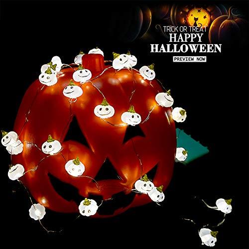 Pier 1 Halloween Lights (BOHON Halloween Lights 3D Jack-o-Lantern 10ft 30 LEDs Pumpkin String Lights Battery Powered Pumpkin Lights for Halloween Party Indoor Fall Outdoor Harvest Thanksgiving Decorations)